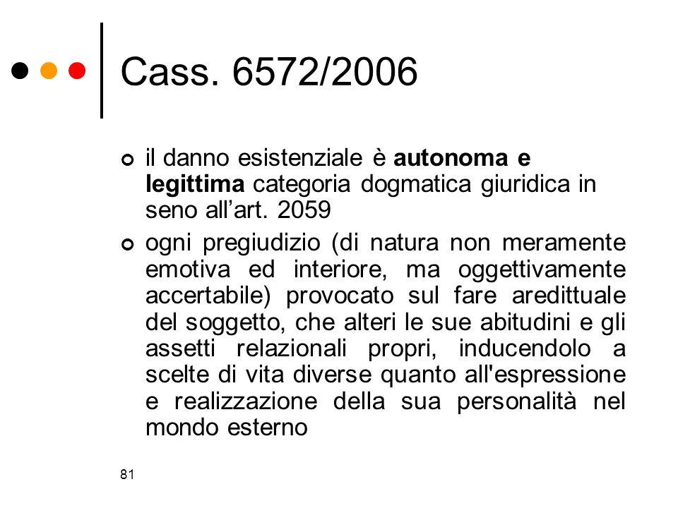 Cass. 6572/2006il danno esistenziale è autonoma e legittima categoria dogmatica giuridica in seno all'art. 2059.