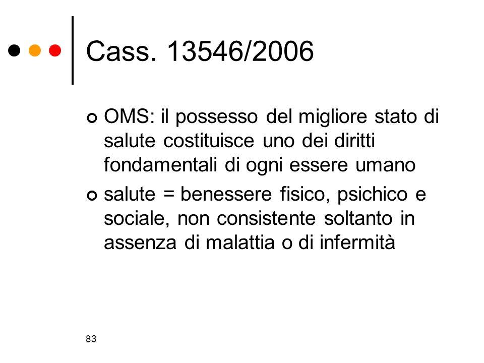 Cass. 13546/2006OMS: il possesso del migliore stato di salute costituisce uno dei diritti fondamentali di ogni essere umano.
