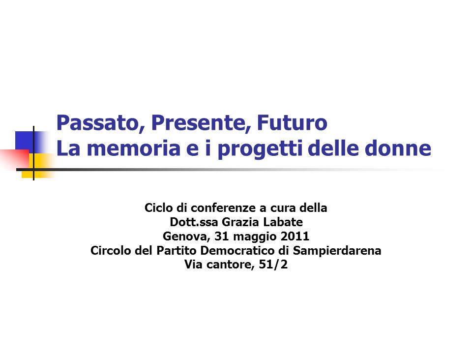 Passato, Presente, Futuro La memoria e i progetti delle donne