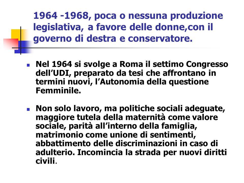 1964 -1968, poca o nessuna produzione legislativa, a favore delle donne,con il governo di destra e conservatore.