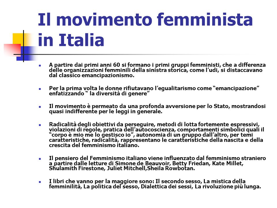 Il movimento femminista in Italia