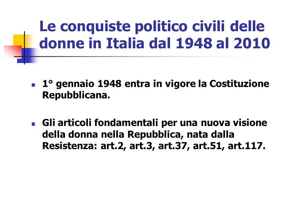 Le conquiste politico civili delle donne in Italia dal 1948 al 2010