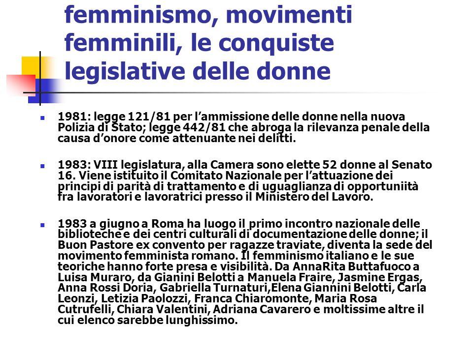 femminismo, movimenti femminili, le conquiste legislative delle donne
