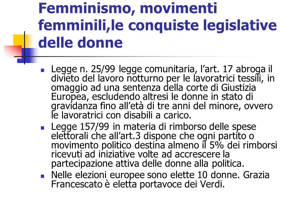 Femminismo, movimenti femminili,le conquiste legislative delle donne