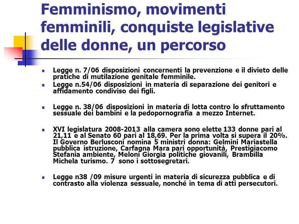 Femminismo, movimenti femminili, conquiste legislative delle donne, un percorso