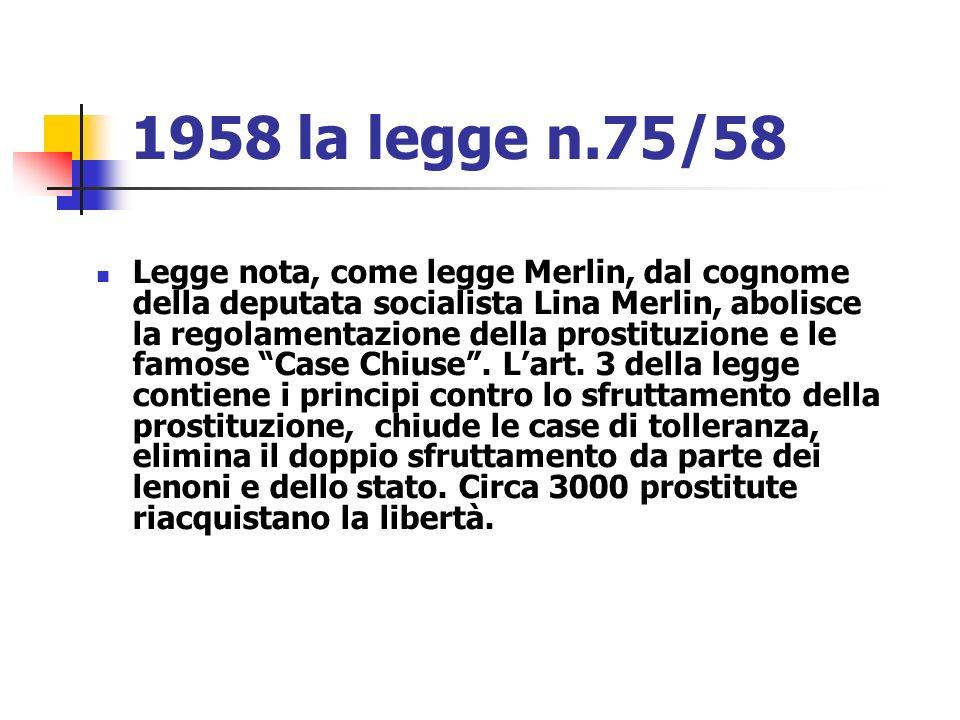 1958 la legge n.75/58