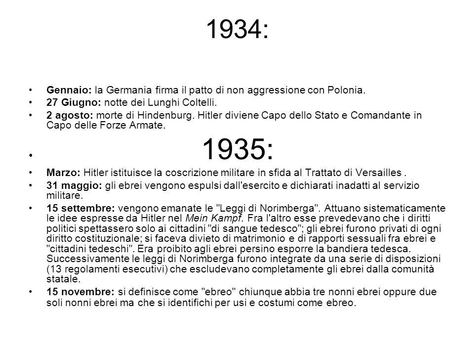1934: Gennaio: la Germania firma il patto di non aggressione con Polonia. 27 Giugno: notte dei Lunghi Coltelli.