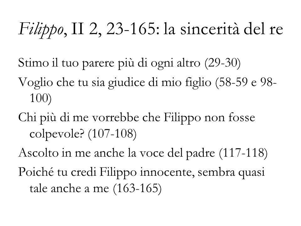 Filippo, II 2, 23-165: la sincerità del re