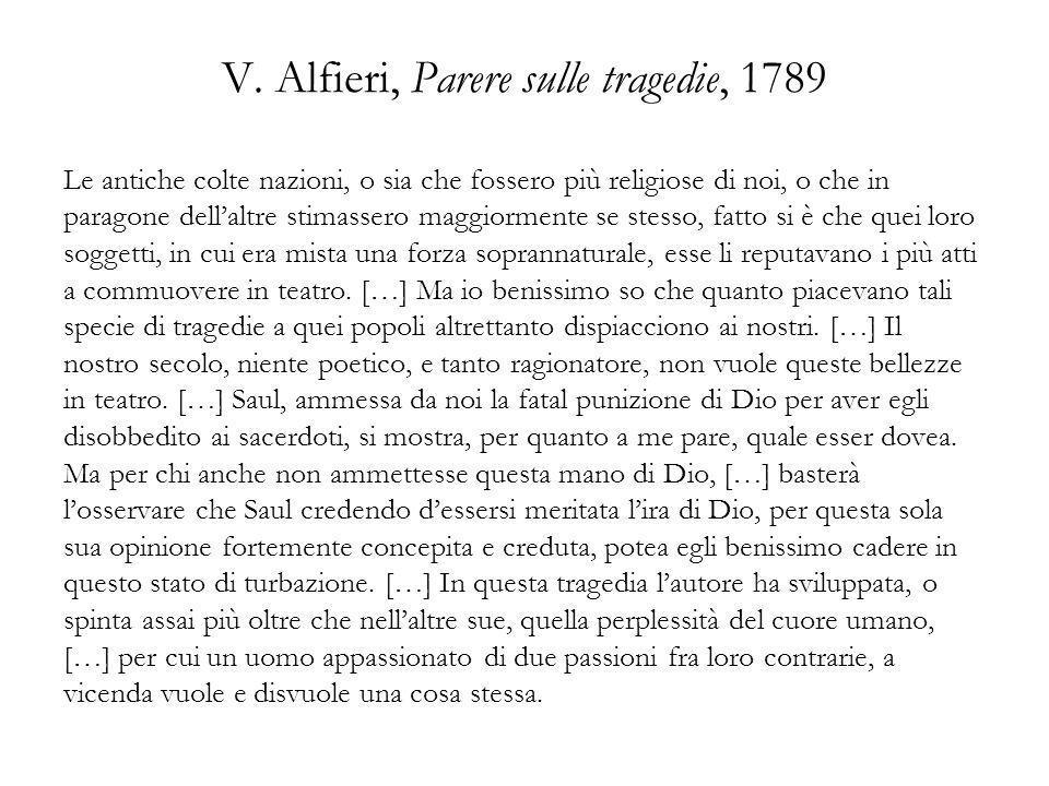 V. Alfieri, Parere sulle tragedie, 1789