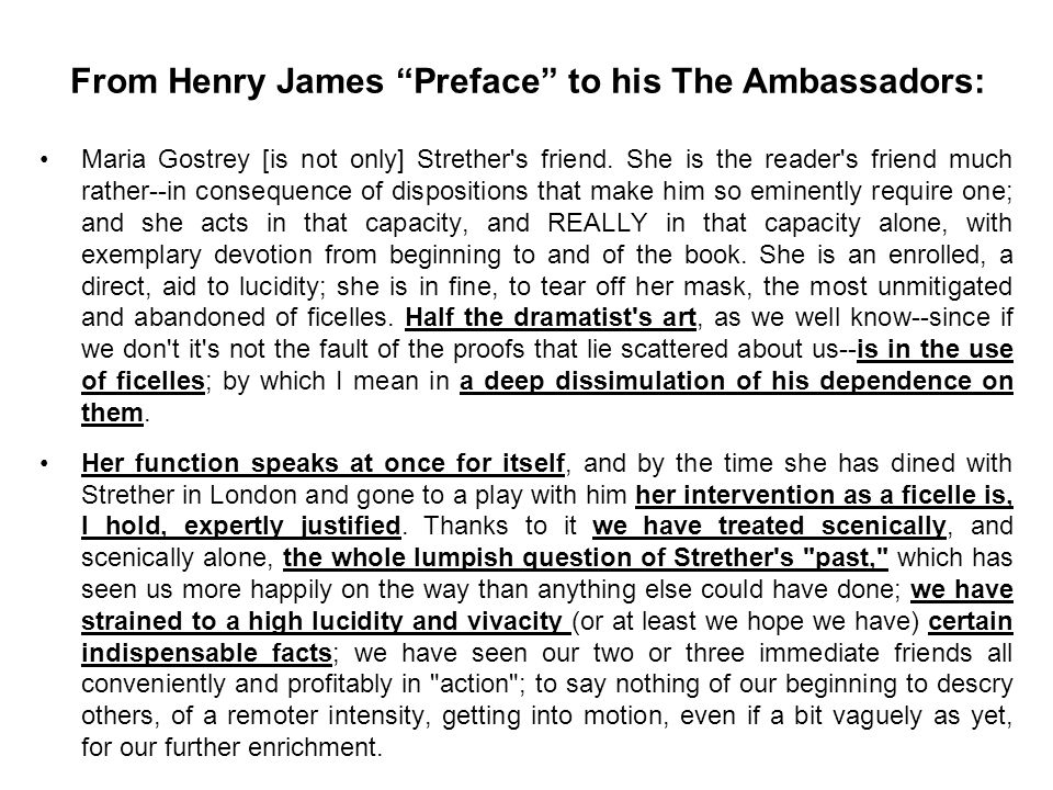 From Henry James Preface to his The Ambassadors: