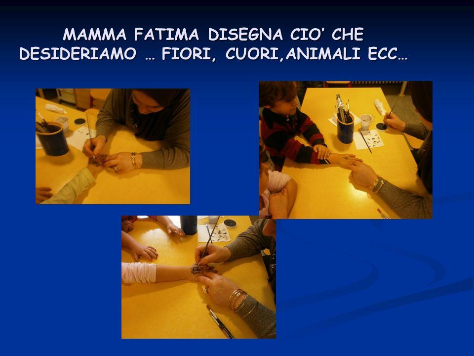 MAMMA FATIMA DISEGNA CIO' CHE DESIDERIAMO … FIORI, CUORI,ANIMALI ECC…