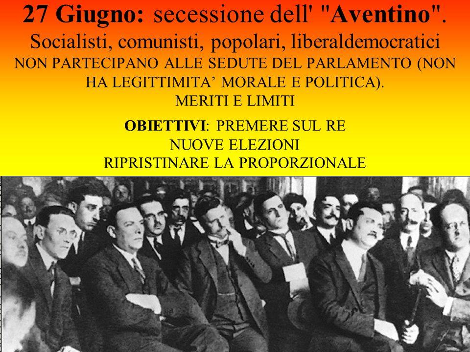 27 Giugno: secessione dell Aventino