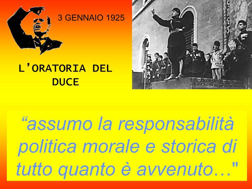 3 GENNAIO 1925 L'ORATORIA DEL DUCE.