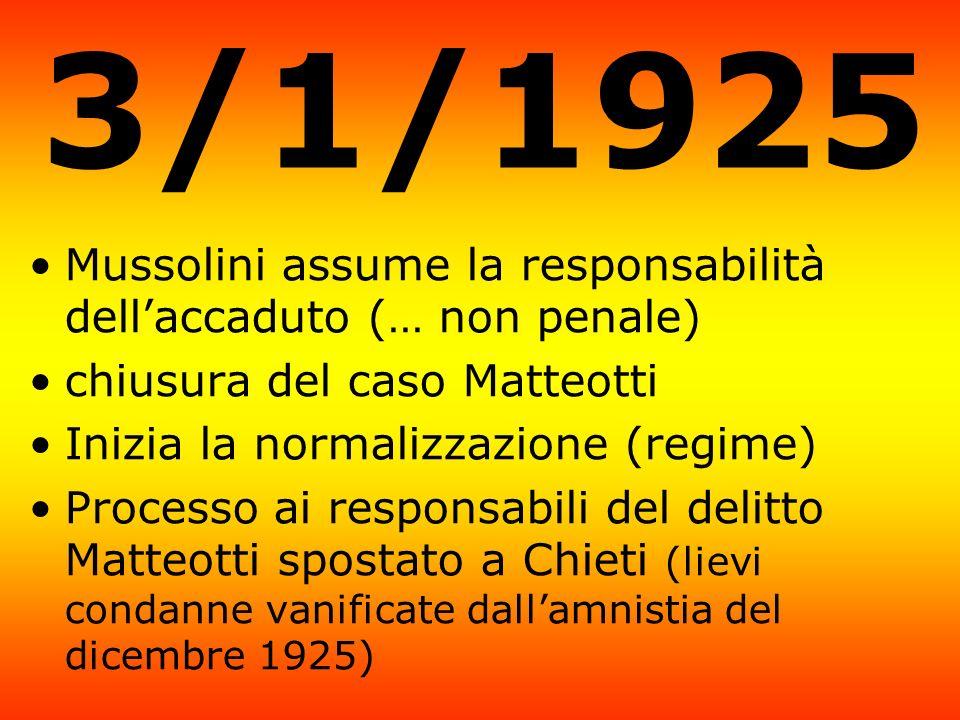 3/1/1925 Mussolini assume la responsabilità dell'accaduto (… non penale) chiusura del caso Matteotti.