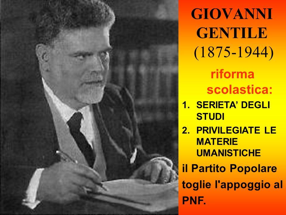GIOVANNI GENTILE (1875-1944) riforma scolastica: il Partito Popolare