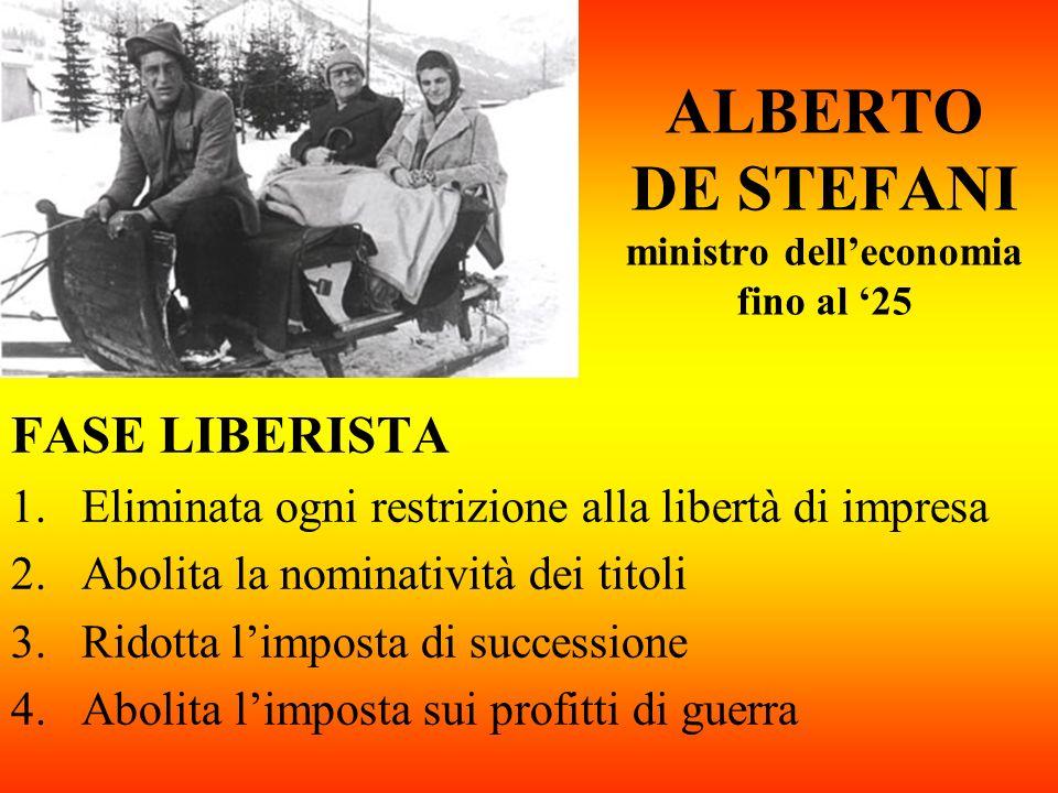 ALBERTO DE STEFANI ministro dell'economia fino al '25