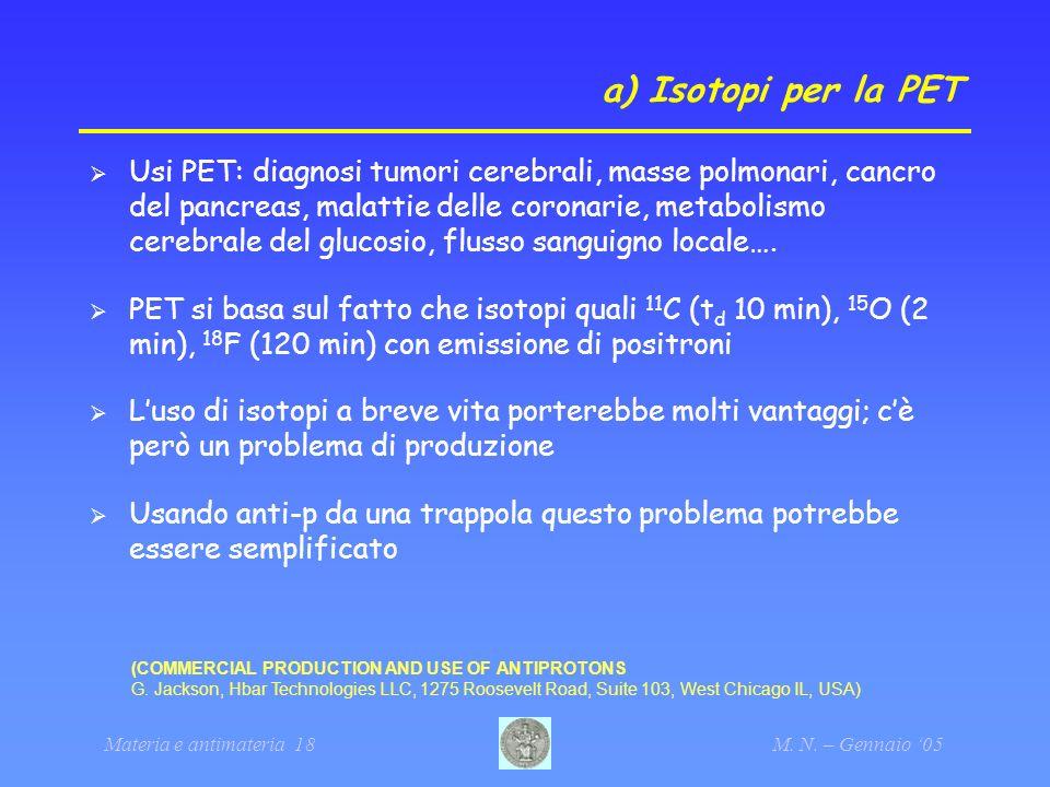a) Isotopi per la PET