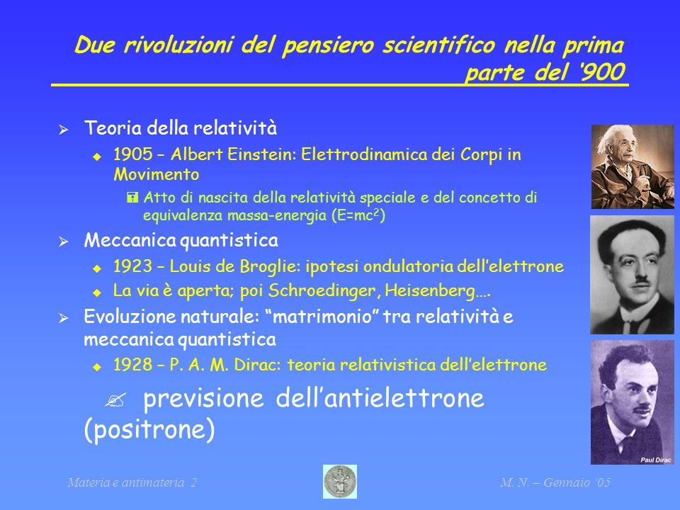 Due rivoluzioni del pensiero scientifico nella prima parte del '900