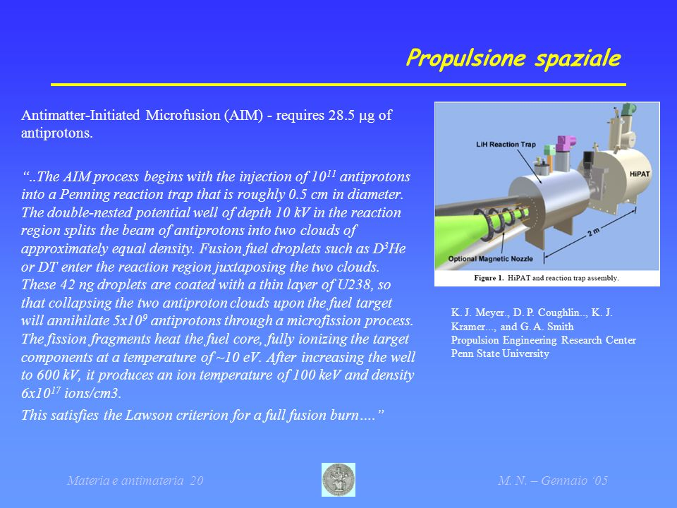 Propulsione spaziale Antimatter-Initiated Microfusion (AIM) - requires 28.5 mg of antiprotons.