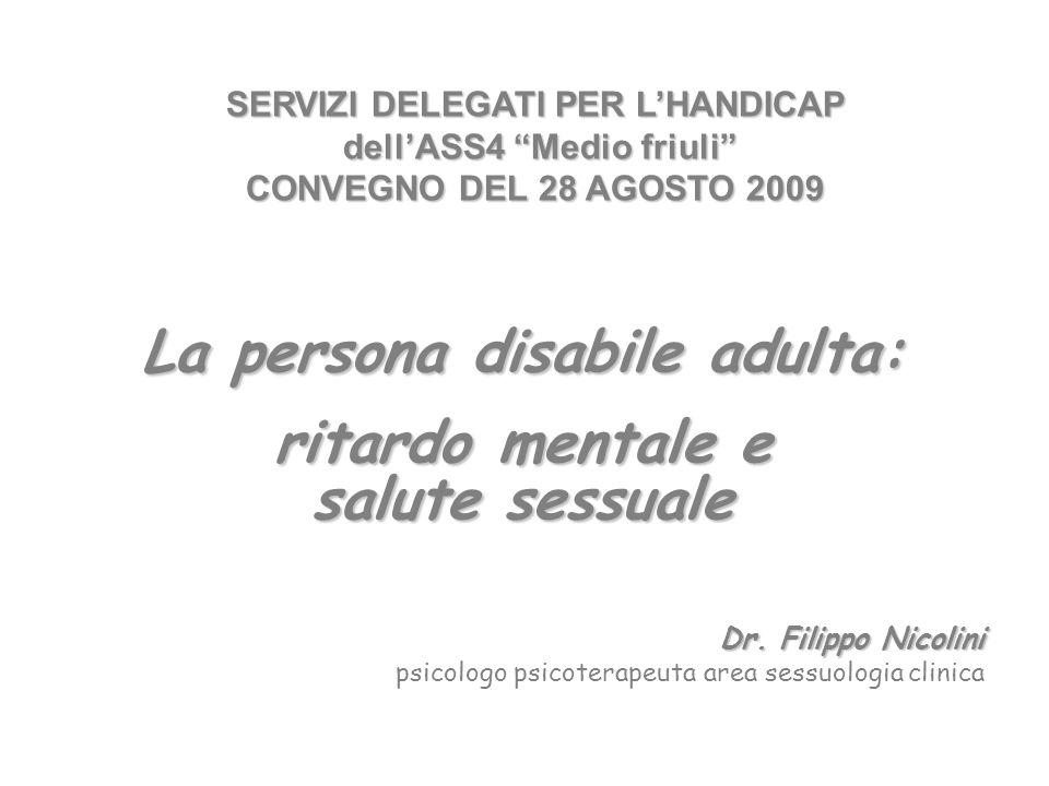 La persona disabile adulta: