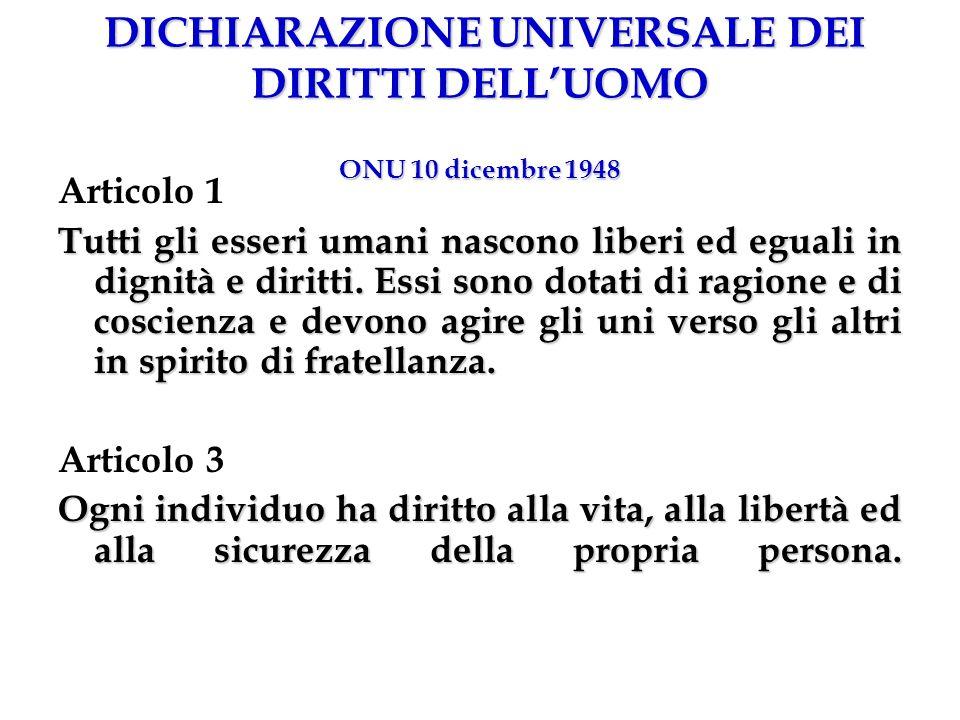 DICHIARAZIONE UNIVERSALE DEI DIRITTI DELL'UOMO ONU 10 dicembre 1948
