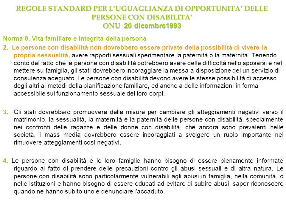 REGOLE STANDARD PER L'UGUAGLIANZA DI OPPORTUNITA' DELLE PERSONE CON DISABILITA' ONU 20 dicembre1993