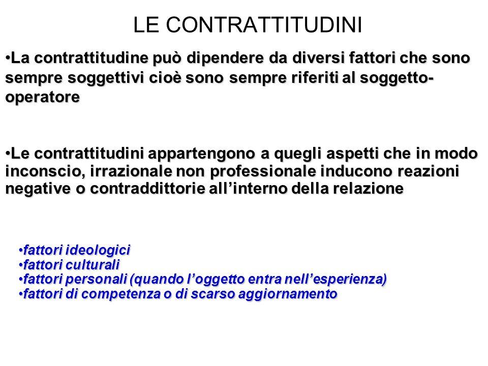 LE CONTRATTITUDINI La contrattitudine può dipendere da diversi fattori che sono sempre soggettivi cioè sono sempre riferiti al soggetto-operatore.
