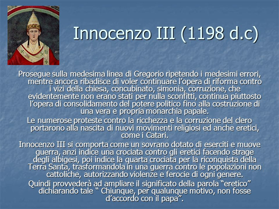 Innocenzo III (1198 d.c)