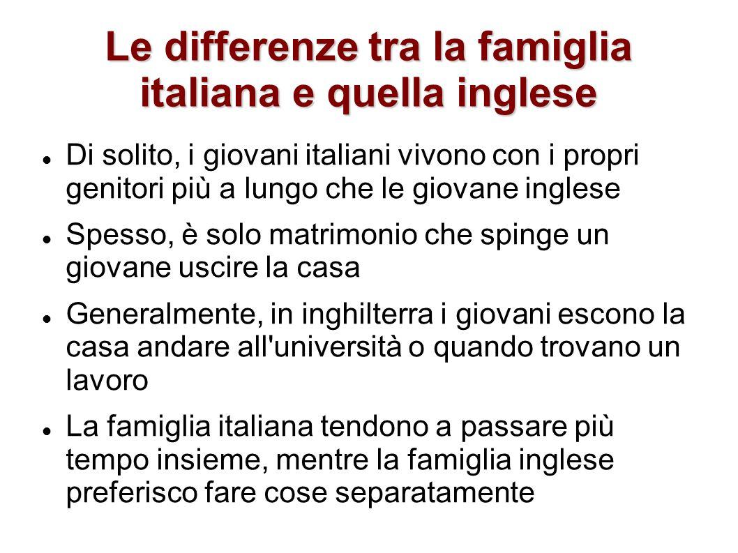 Le differenze tra la famiglia italiana e quella inglese