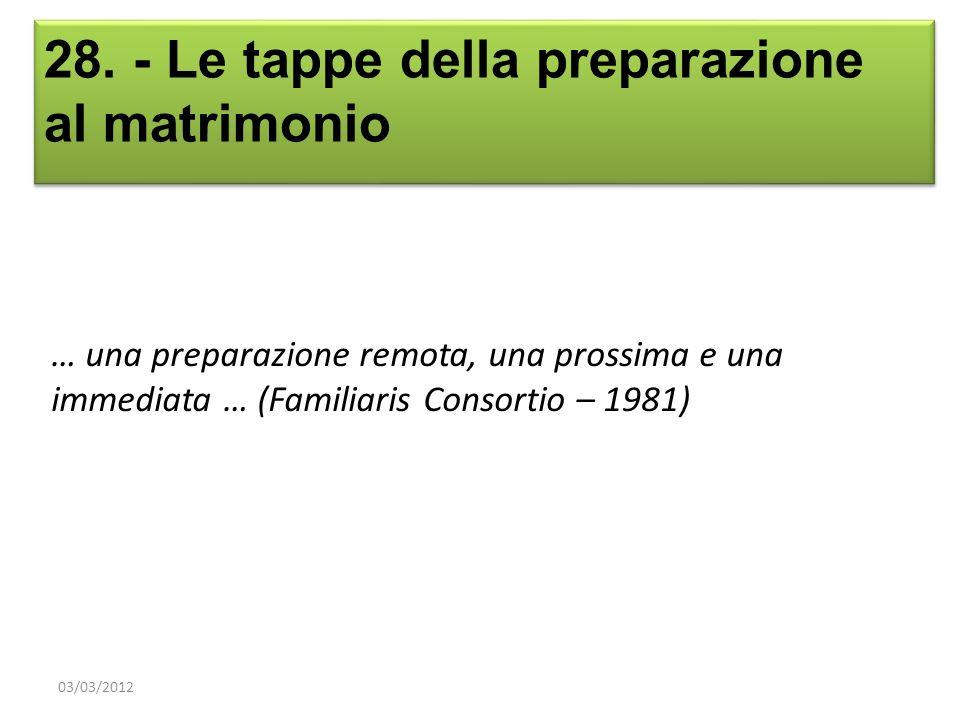 28. - Le tappe della preparazione al matrimonio