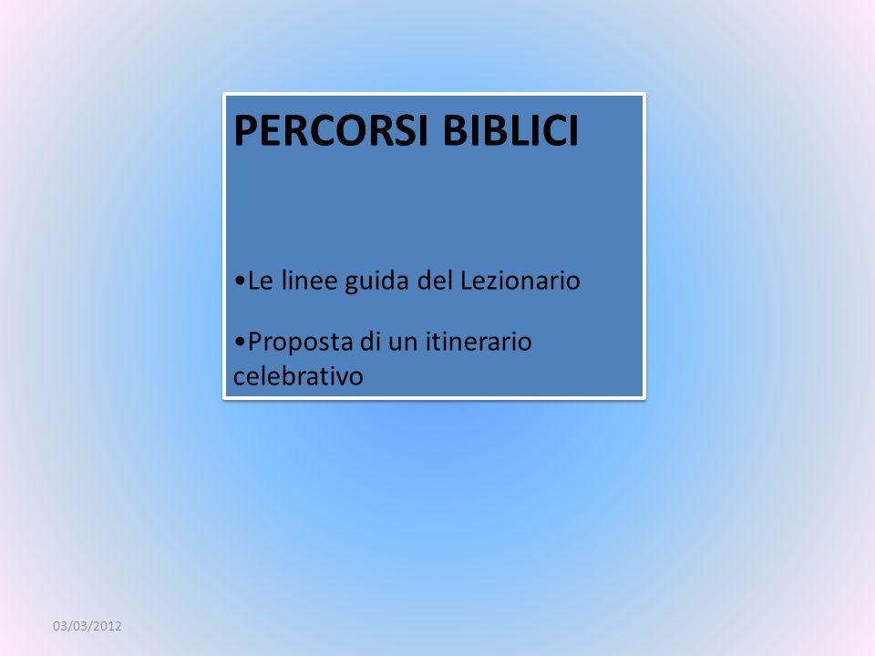 PERCORSI BIBLICI Le linee guida del Lezionario