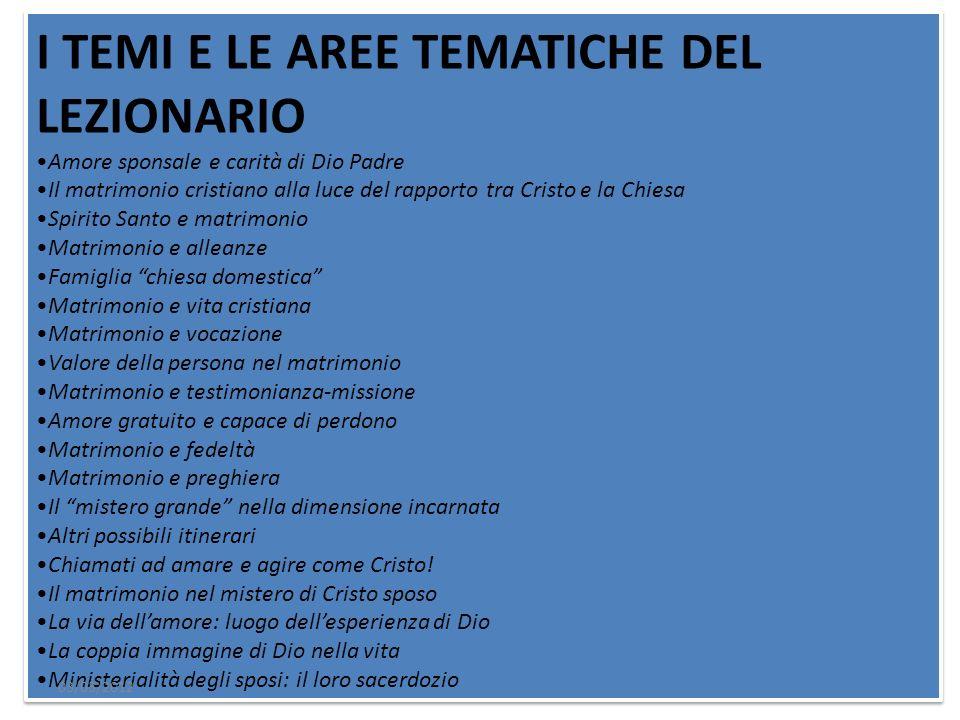 I TEMI E LE AREE TEMATICHE DEL LEZIONARIO