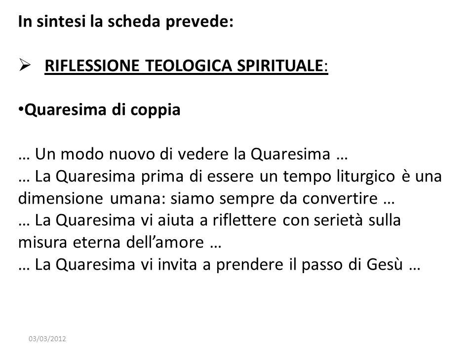 In sintesi la scheda prevede: RIFLESSIONE TEOLOGICA SPIRITUALE: