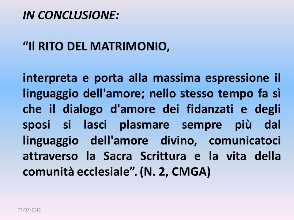 Il RITO DEL MATRIMONIO,