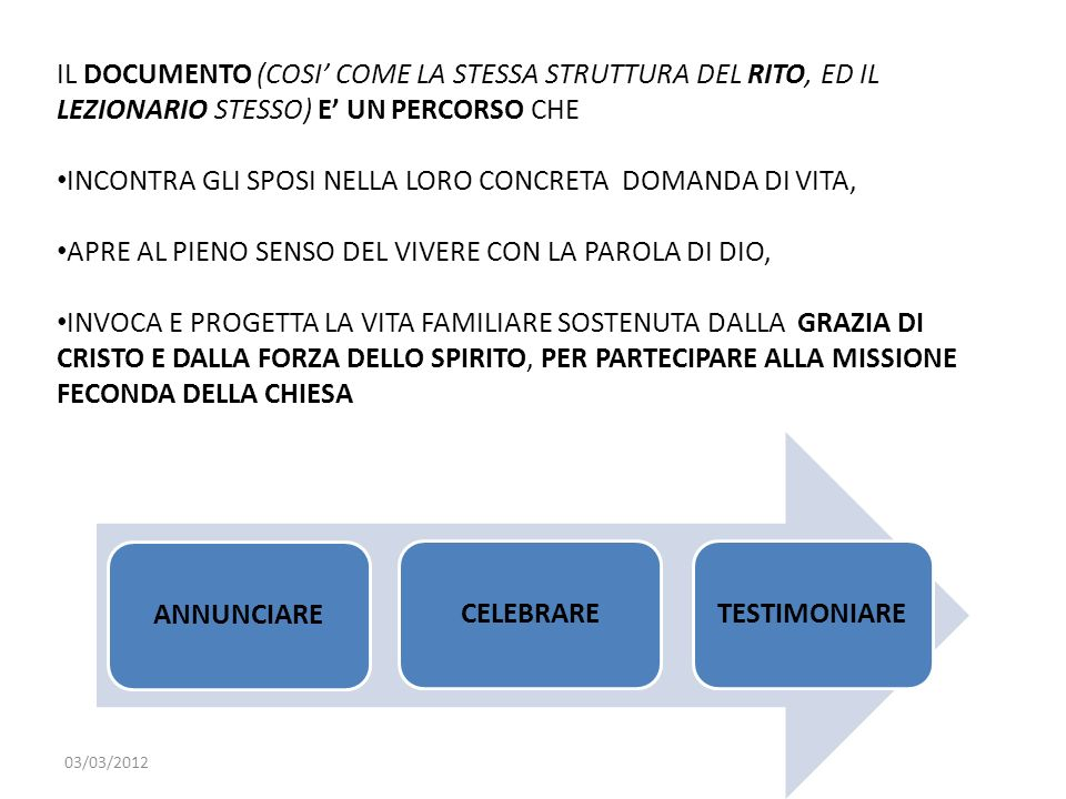 ANNUNCIARE CELEBRARE TESTIMONIARE
