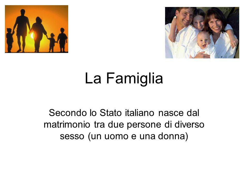 La Famiglia Secondo lo Stato italiano nasce dal matrimonio tra due persone di diverso sesso (un uomo e una donna)