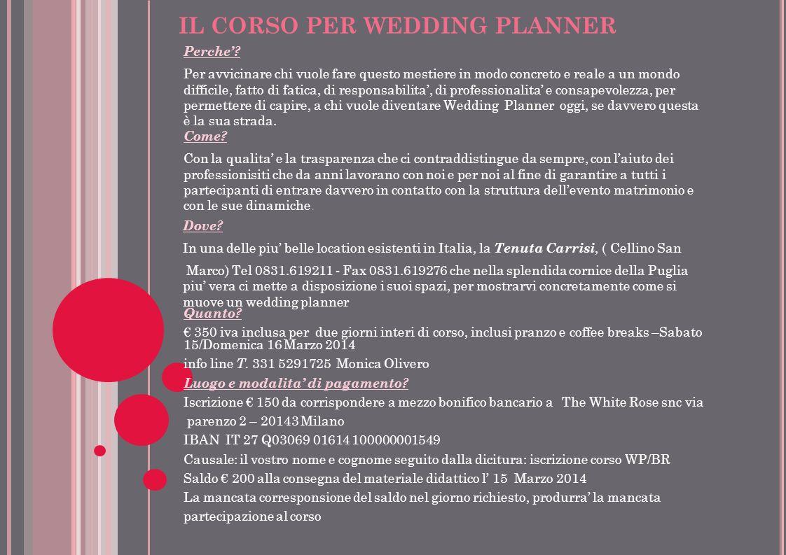 IL CORSO PER WEDDING PLANNER