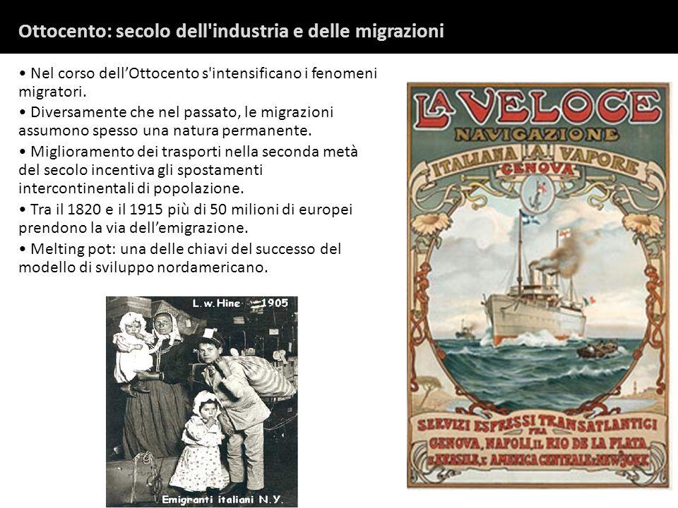 Ottocento: secolo dell industria e delle migrazioni