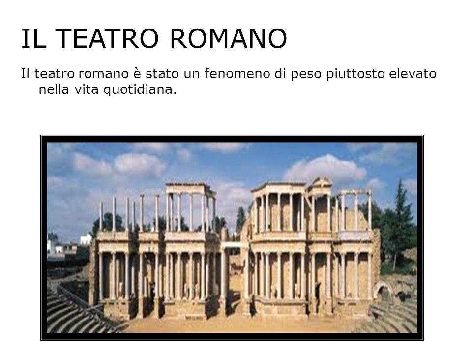 IL TEATRO ROMANO Il teatro romano è stato un fenomeno di peso piuttosto elevato nella vita quotidiana.