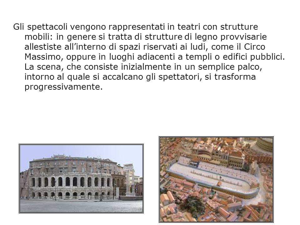 Gli spettacoli vengono rappresentati in teatri con strutture mobili: in genere si tratta di strutture di legno provvisarie allestiste all'interno di spazi riservati ai ludi, come il Circo Massimo, oppure in luoghi adiacenti a templi o edifici pubblici.