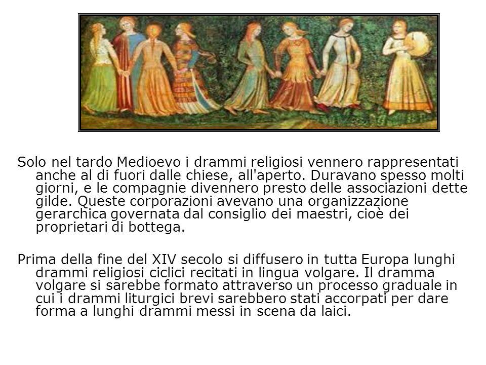 Solo nel tardo Medioevo i drammi religiosi vennero rappresentati anche al di fuori dalle chiese, all aperto.