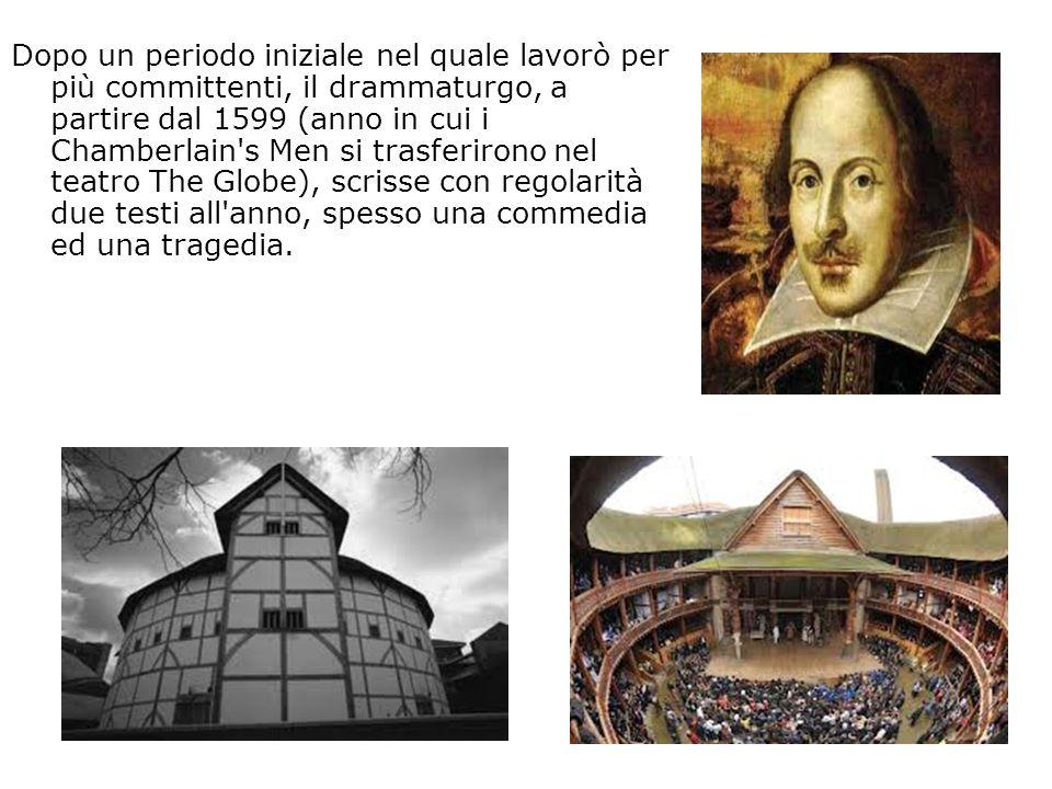 Dopo un periodo iniziale nel quale lavorò per più committenti, il drammaturgo, a partire dal 1599 (anno in cui i Chamberlain s Men si trasferirono nel teatro The Globe), scrisse con regolarità due testi all anno, spesso una commedia ed una tragedia.