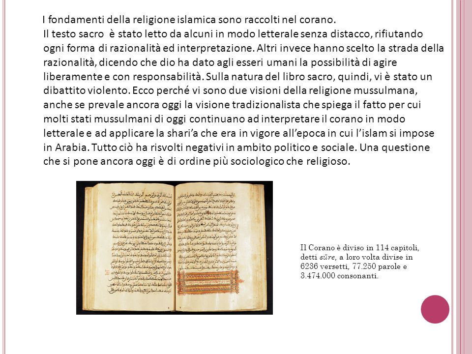 I fondamenti della religione islamica sono raccolti nel corano