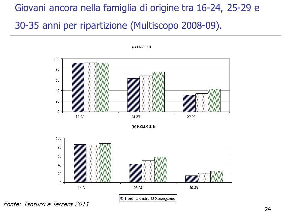 29/03/2017 Giovani ancora nella famiglia di origine tra 16-24, 25-29 e 30-35 anni per ripartizione (Multiscopo 2008-09).