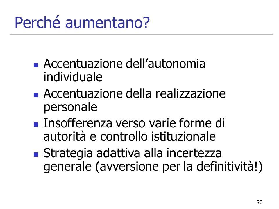 Perché aumentano Accentuazione dell'autonomia individuale