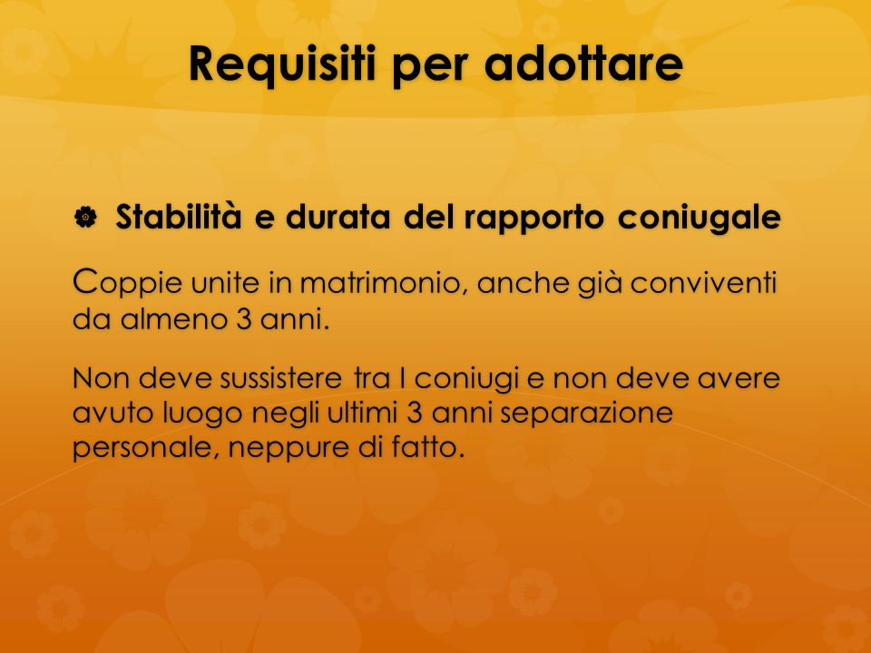 Requisiti per adottare