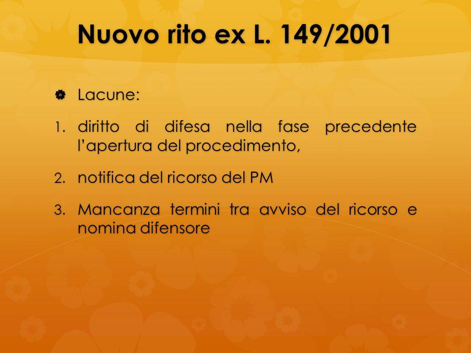 Nuovo rito ex L. 149/2001 Lacune: