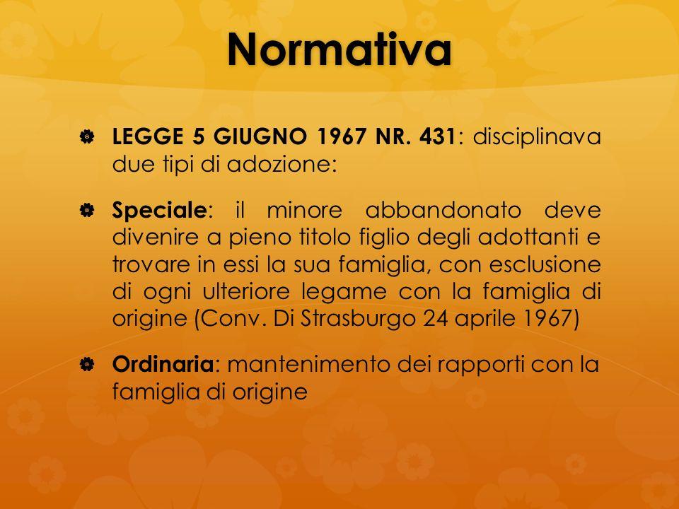 Normativa LEGGE 5 GIUGNO 1967 NR. 431: disciplinava due tipi di adozione:
