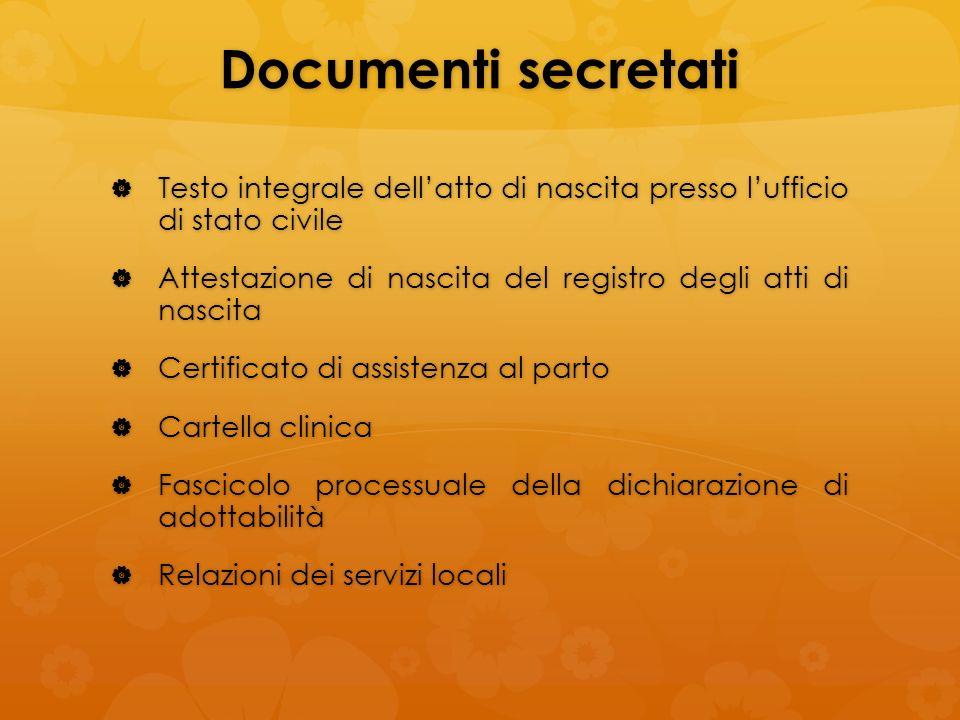 Documenti secretati Testo integrale dell'atto di nascita presso l'ufficio di stato civile.