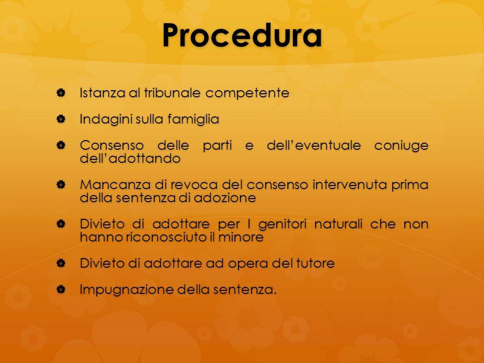 Procedura Istanza al tribunale competente Indagini sulla famiglia